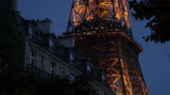 Eiffel Tower at Night, Paris, France, Europe Stock Footage