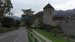 Liechtenstein Vaduz Castle from scenic road pan 4K 130 Stock Footage