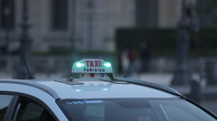 Taxis near The Louvre, Paris, France, Europe Stock Footage