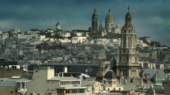 Stock Video Footage of Sacre Coeur from above, clip 2