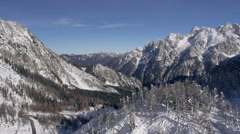 Aerial - Snowy Julian Alps behind a hill with spruce trees Stock Footage