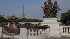 Statues and Lamps on Pont Alexandre lll, Paris, France, Europe Stock Footage