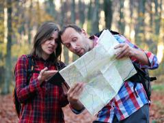 Lost couple argue, tablet and map in forest NTSC Stock Footage