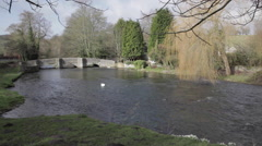 Sheepwash Bridge, Ashford in the Water, Derbyshire, England, Uk, Europe Stock Footage