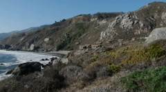 Cottages on Cliff Stinson Beach California Stock Footage