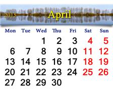 Calendar for april of 2015 year with image of flood Stock Illustration