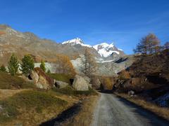 Autumn scene in Zermatt - stock photo