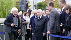 Chairman of the PiS party J. Kaczynski, press conference, Elblag, Poland Stock Footage