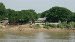Fishing villages at the Ayeyarwady river, Myanmar, Burma Stock Footage