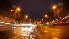 Paris Champs Elysees Night Time Lapse Stock Footage