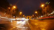 Stock Video Footage of Paris Champs Elysees Night Time Lapse