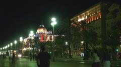 Promenade des Anglais Negresco hotel night Nice landmark tourism attraction icon Stock Footage