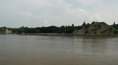 Pagodas from the Ayeyarwady river when arriving to Bagan, Myanmar, Burma Stock Footage