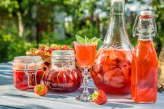 Various preparations of strawberries Stock Photos