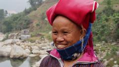 Red Dao Woman Wearing Traditional Headdress, Smiling, Sapa District, Vietnam Stock Footage