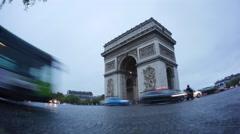 Paris Arc de Triomphe Time Lapse Stock Footage