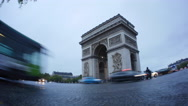 Stock Video Footage of Paris Arc de Triomphe Time Lapse