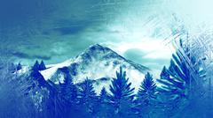 frozen window winter mountain landscape with fir trees - stock illustration