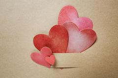 hand-crafted paper hearts - stock photo
