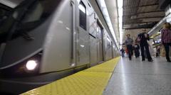 A TTC subway Train Leaves Platform Stock Footage