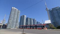 New Toronto Streetcar and CN Tower Stock Footage