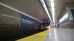 Underground Subway Train Pulls Into Station Stock Footage