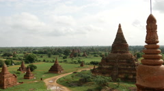 Pan from the Mahazedi Pagoda in Bagan, Myanmar, Burma Stock Footage