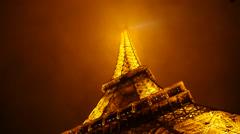 Paris Eiffel Tower Night Time Lapse 1 Stock Footage