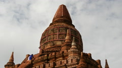 Stock Video Footage of Tourists climing at a Pagoda in Bagan, Myanmar, Burma