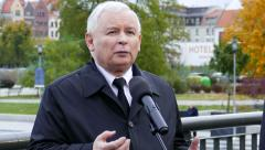 Chairman of the PiS party J. Kaczynski speaks during a press conference, Poland - stock footage