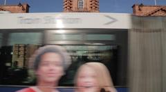 Train Station Entrance & Bus, Nottingham, England, UK, Europe - stock footage
