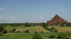 Pan from the Dhammayan Gyi Temple in Bagan, Myanmar, Burma Stock Footage