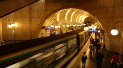 Paris Metro Subway Station Time Lapse Stock Footage