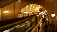 Stock Video Footage of Paris Metro Subway Station Time Lapse