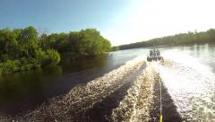 GoPro Wakeboarding POV Wake to Wake Jump Stock Footage
