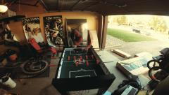 Assembling a foosball table start to finish - stock footage