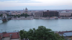 Chain Bridge Szechenyi Lamchid, and River Danube from Castle Hill District, Stock Footage