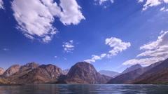 Mountain lake, clouds. IskanderKul. Time Lapse. 1280x720 Stock Footage