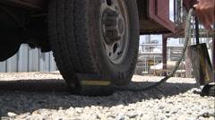 Wheel Chocks on Pickup Stock Footage