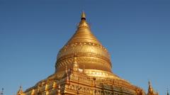 Shwezigon Pagoda in Bagan, Myanmar, Burma Stock Footage
