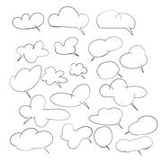 hand drawing set of cloud for adding text or speech - stock illustration