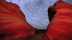 Polaris Star Trails Over Arizona Sandstone Rock Formation - stock footage
