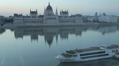 Hungarian Parliament Building, River Danube at Daybreak, Budapest, Hungary Stock Footage