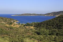 View from the mountains of the bay of Aegean Sea. - stock photo
