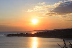 Beautiful sunset over the Aegean Sea. - stock photo
