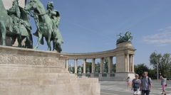 Millennium Monument, Heroes Square Hosok Tere, Budapest, Hungary, Europe Stock Footage