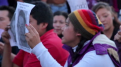 Teens shout slogans in a march protest for the students disappeared in Guerrero. Stock Footage