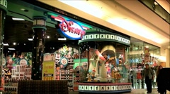 Disney storefront, shopping mall Stock Footage