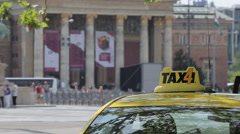 Taxi near Heroes Square Hosok Tere, Budapest, Hungary, Europe Stock Footage
