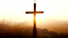 Suicidal grave cross background. suicide symbol outdoors.  rest in peace Stock Footage